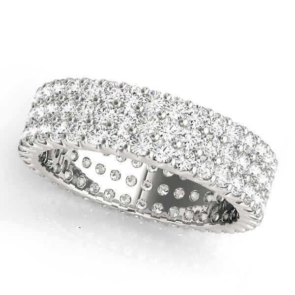 Triple Row Pave Diamond Wedding Band