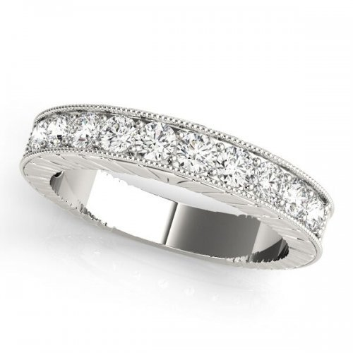 Channel Set Diamond Milgrain Wedding Anniversary Ring