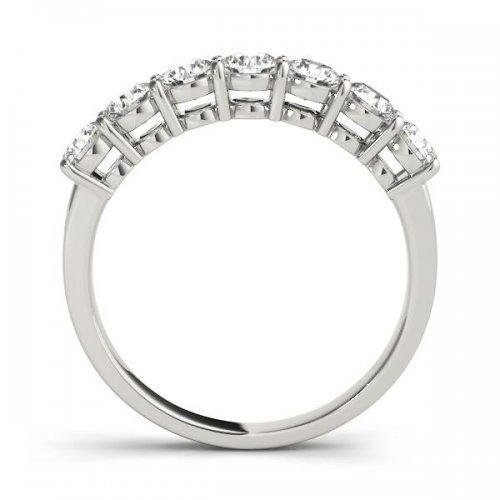 Round Cut Diamond Shared Prong Anniversary Ring
