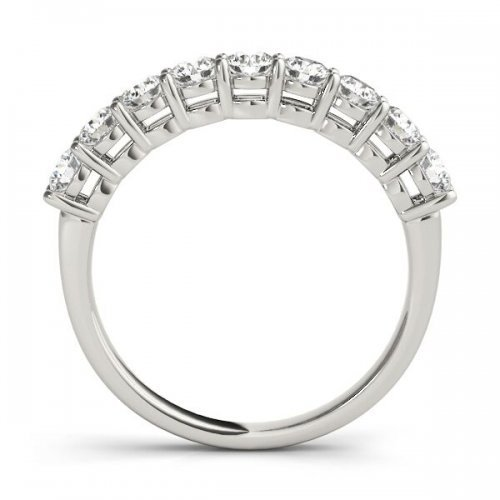 Round Cut Diamond Shared Prong Anniversary Ring
