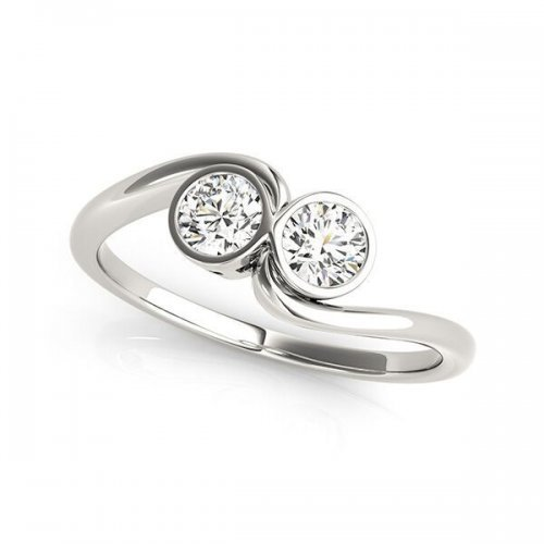 Two Stone Bezel Solitaire Engagement Ring