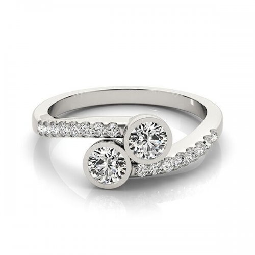 Two Stone Bezel Set Diamond Engagement Ring