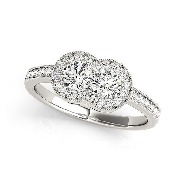 wo Stone Halo Diamond Engagement Ring