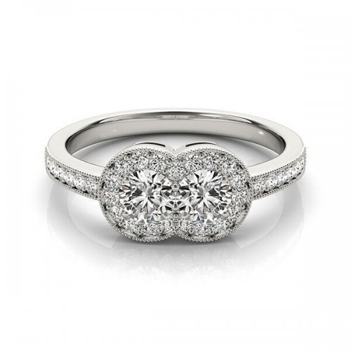 wo Stone Halo Diamond Engagement Ring