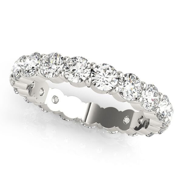 Round Cut Diamond Shared Prong Eternity Ring