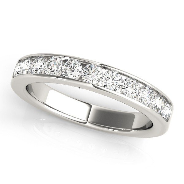 7 Stone Channel Stone Round Diamond Anniversary Ring