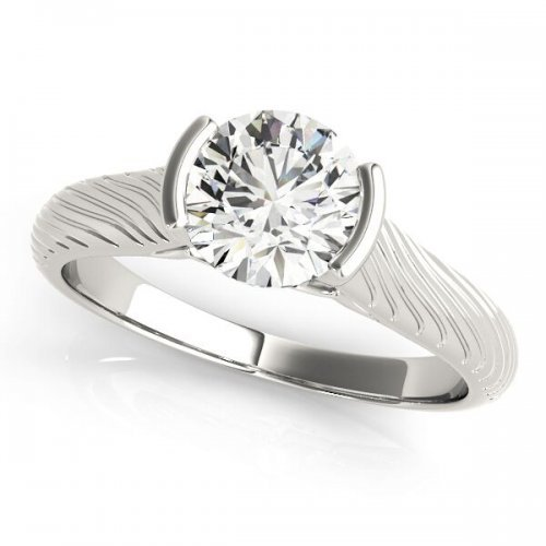 Semi-Bezel Diamond Solitaire Engagement Ring