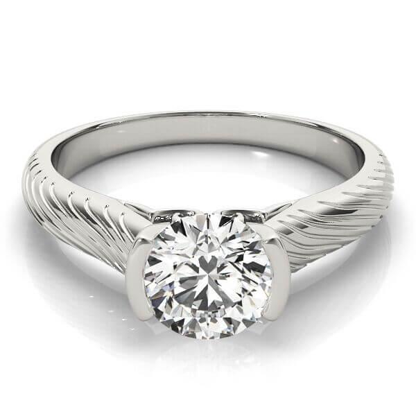 Semi-Bezel Diamond Solitaire Engagement Ring