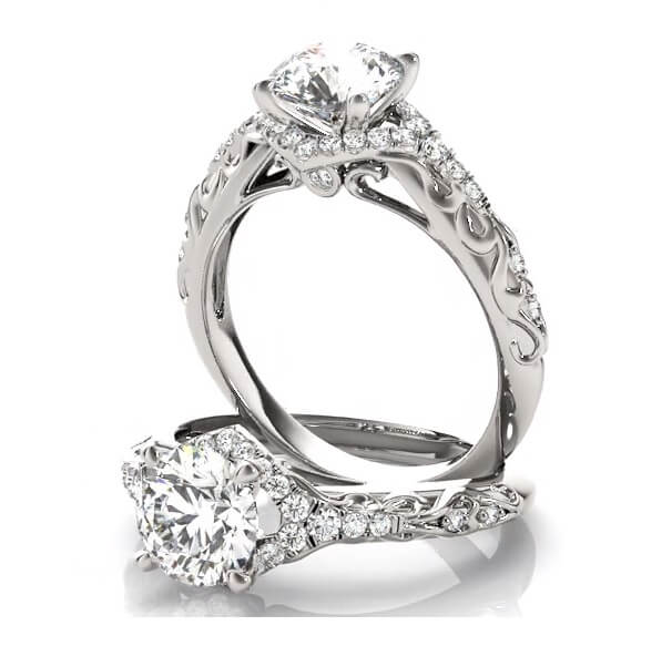 Carved Shank Round Diamond Engagement with accents and sidestones
