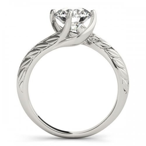 Round Diamond Solitaire Bypass Engagement Ring