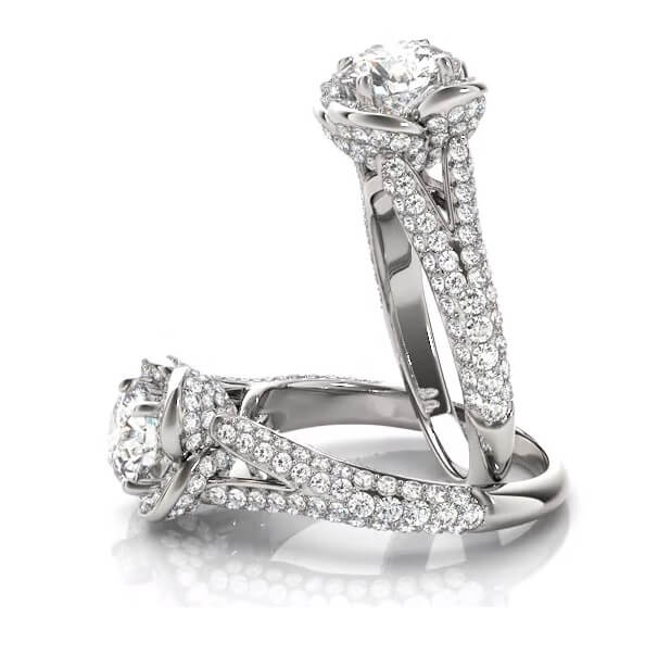 Floral Split Pave Shank Round Diamond Engagement Ring