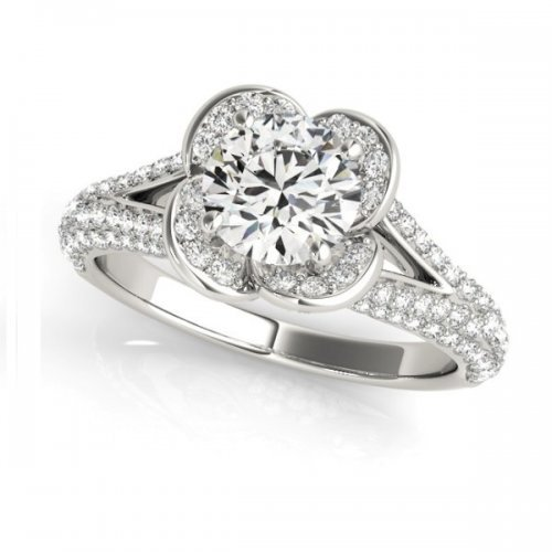 Floral Split Micropave Shank Round Diamond Engagement Ring