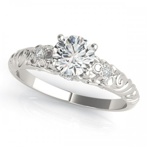 Tapered Filigree Solitaire Engagement Ring