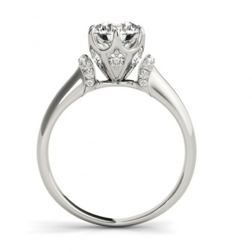 Round Diamond Solitaire Engagement Ring with accents