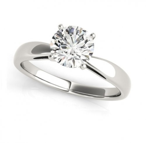 Tapered Round Diamond Solitaire Engagement Ring
