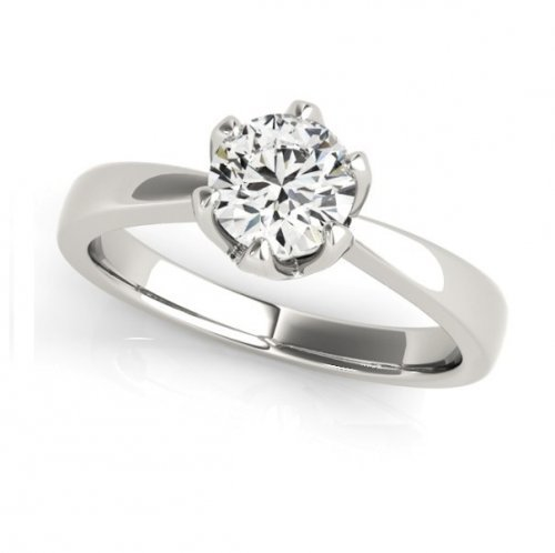 Decorative Basket Tapered Shank Round Diamond Solitaire Engagement Ring