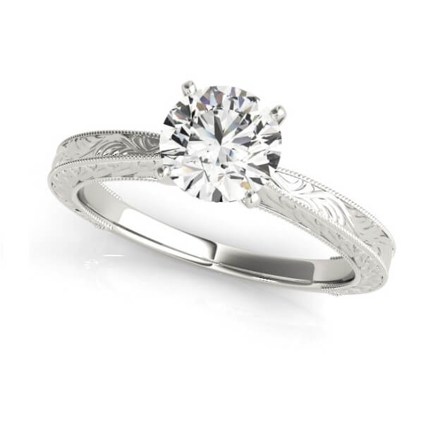 Engraved Shank Diamond Solitaire Engagement