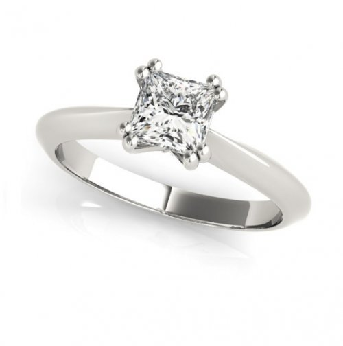Knife Edge Double Prong Princess Cut Diamond Solitaire Engagement Ring