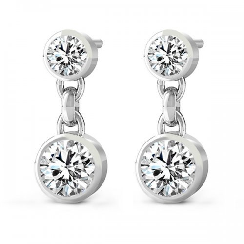 Double Round Cut Bezel Diamond Drop Earrings