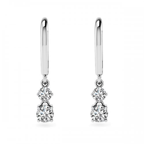 Double Round Diamond Lever Back Drop Earrings