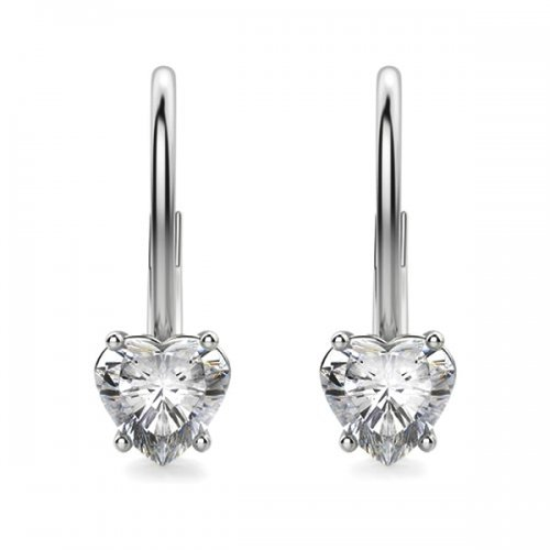 Heart Shaped Diamond Lever Back Drop Earrings