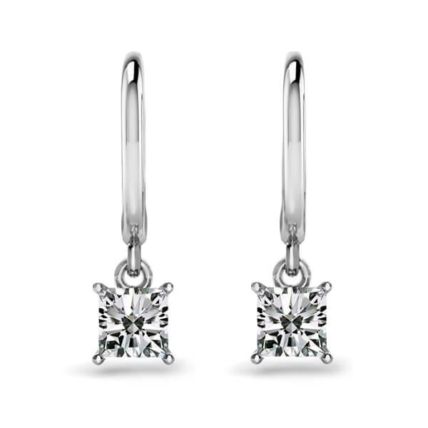 Princess Cut Diamond Lever Back Drop Earrings