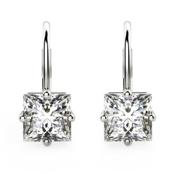 Princess Cut Diamond Lever Back Drop Earrings