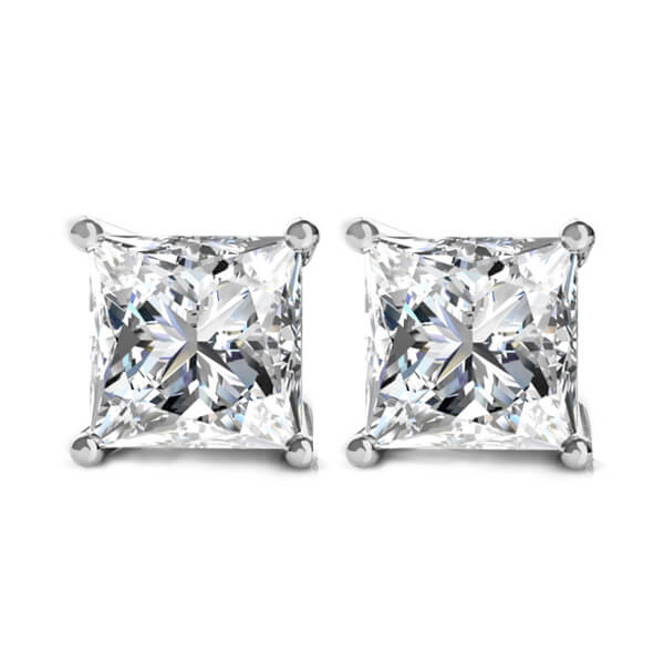 Princess Cut Diamond Stud Earrings Screw Back