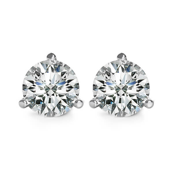 Three Prong Martini Round Diamond Stud Earrings