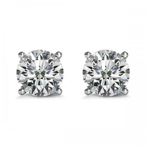4 Prong Round Brilliant Diamond Stud Earrings