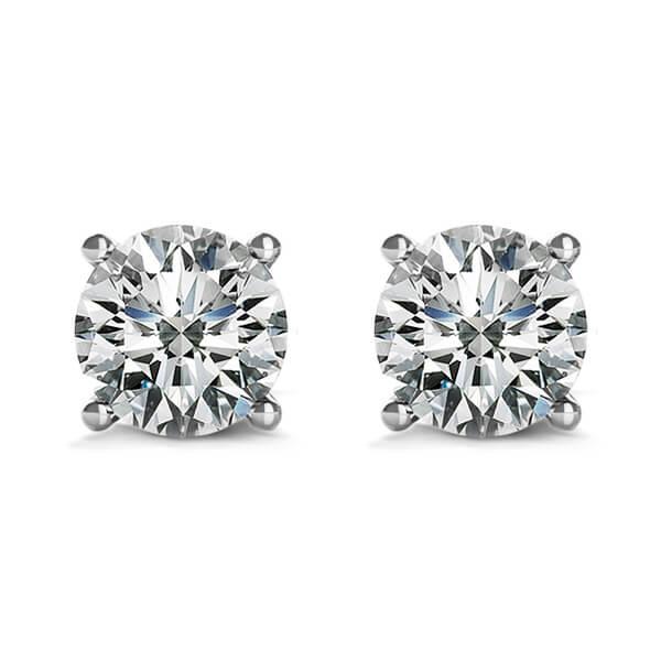 4 Prong Round Brilliant Diamond Stud Earrings