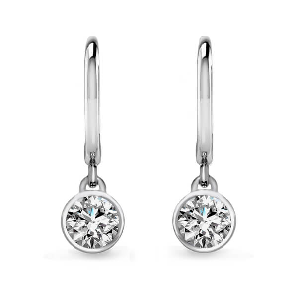 Round Cut Bezel Set Diamond Drop Earrings
