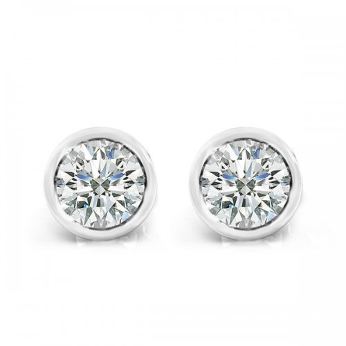Round Bezel Set Diamond Stud Earrings