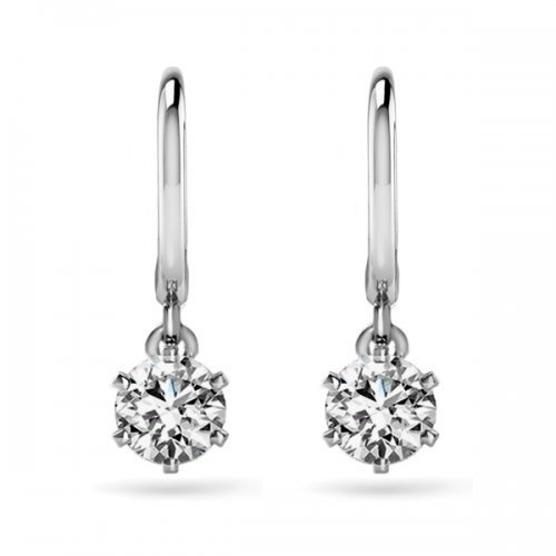 Round Cut Diamond Lever Back Drop Earrings