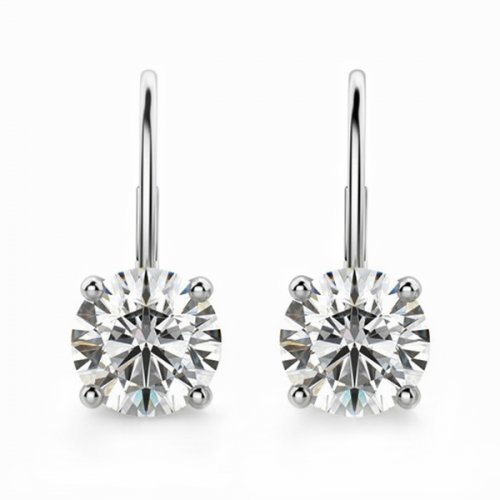 Round Diamond Lever Back Drop Earrings