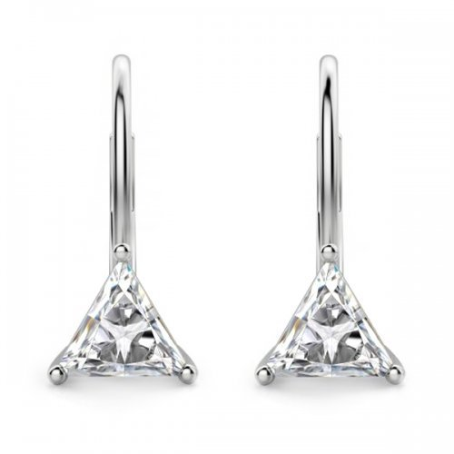 Triangle Diamond Lever Back Drop Earrings