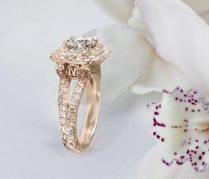 Round Diamond Square Double Halo Engagement Ring