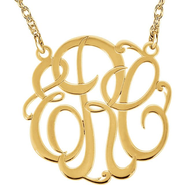 3 Script Monogram Necklace Y