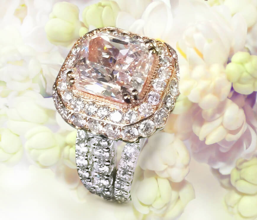 Extraordinary Fancy Pink Emerald Cut Diamond Engagement Ring