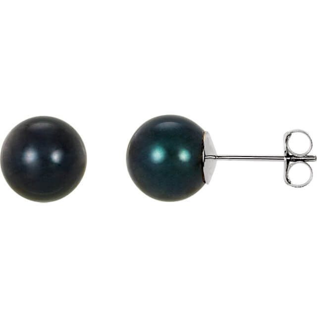 Black Akoya Stud Earrings