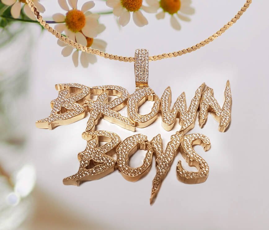 """Personalized Diamond Accent Necklace - """"Brown Boys"""""""