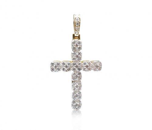 Catholic Cross Diamond Prong Pendant