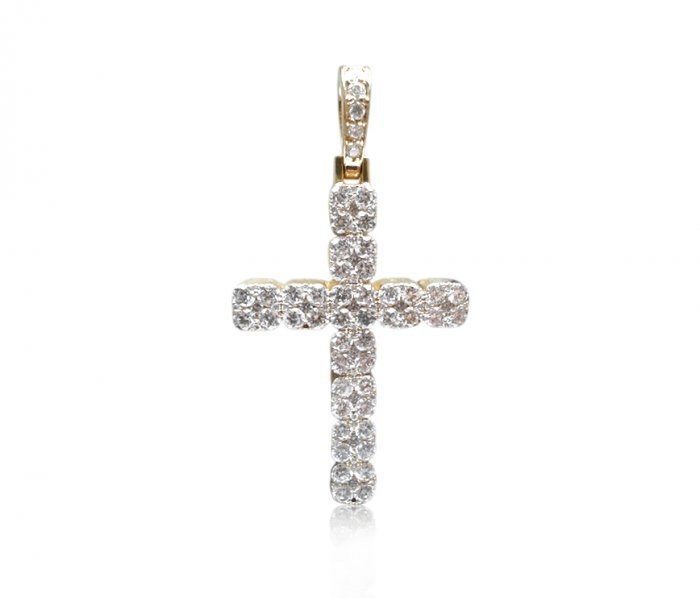 Catholic Cross Diamond Prong Pendant