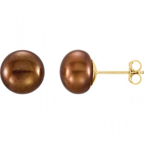 Chocolate Freshwater Cultured Pearl Stud Earrings