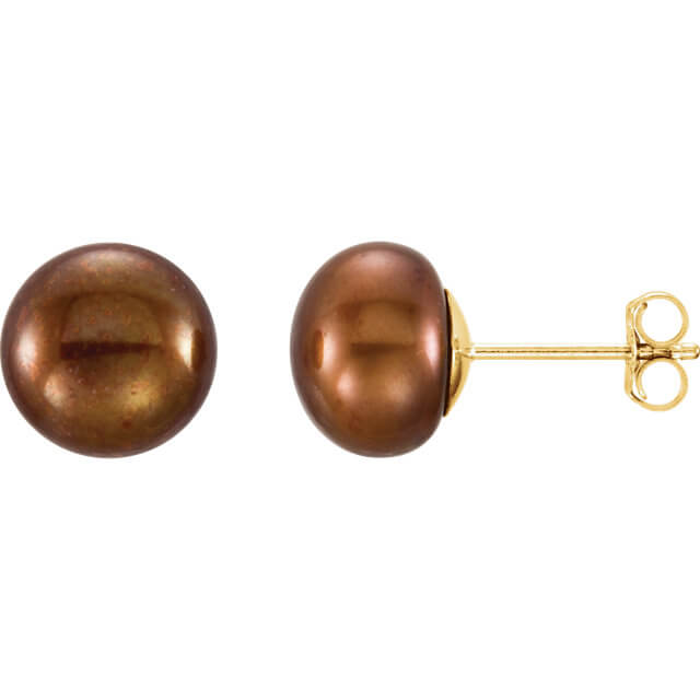 Chocolate Freshwater Cultured Pearl Stud Earrings