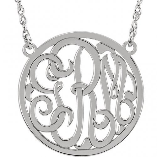 Circle 3 Letter Script Monogram Necklace