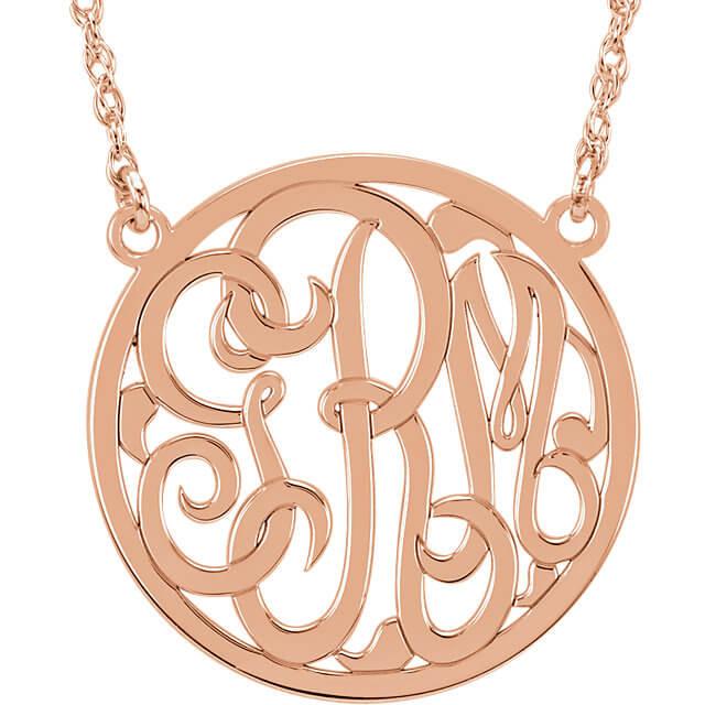 Circle 3 Letter Script Monogram Necklace R