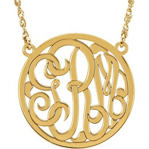 Circle 3 Letter Script Monogram Necklace Y