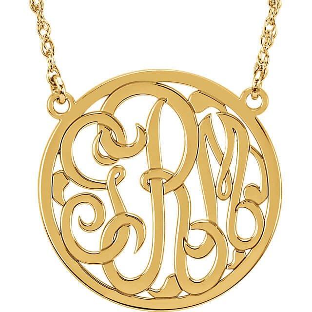 Circle 3 Letter Script Monogram Necklace Y