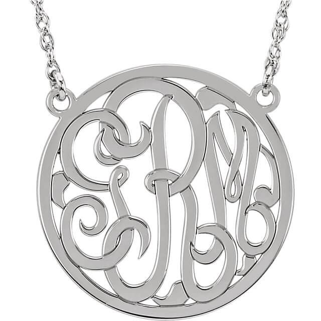 Circle 3 Letter Script Monogram Necklace